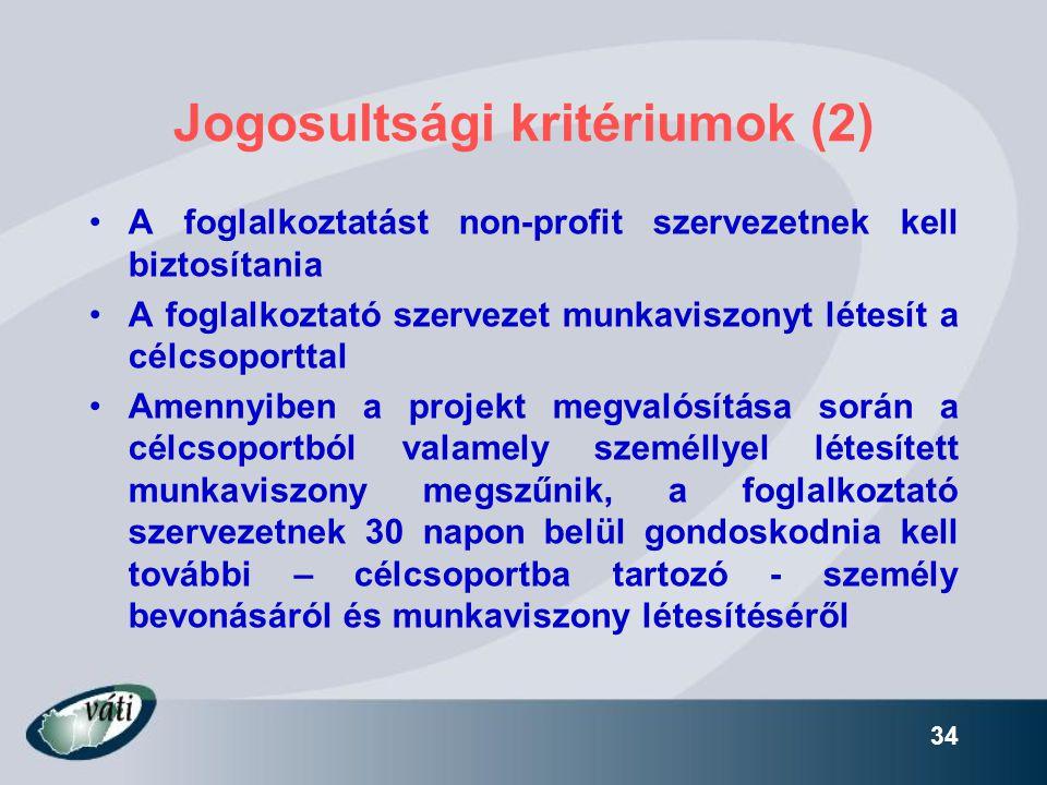 Jogosultsági kritériumok (2)