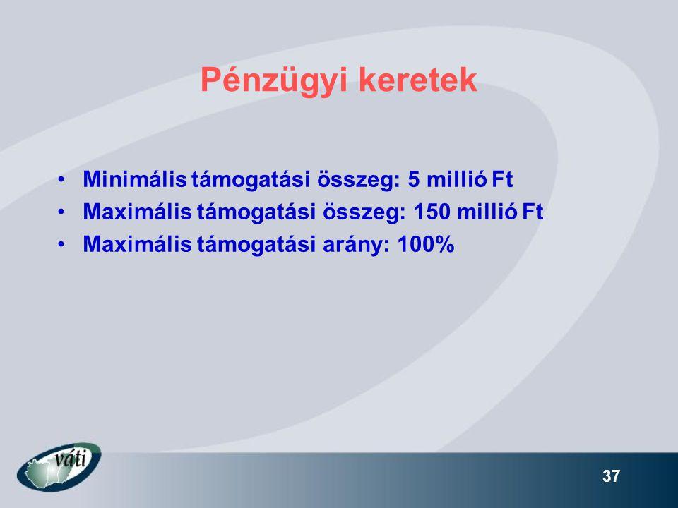 Pénzügyi keretek Minimális támogatási összeg: 5 millió Ft