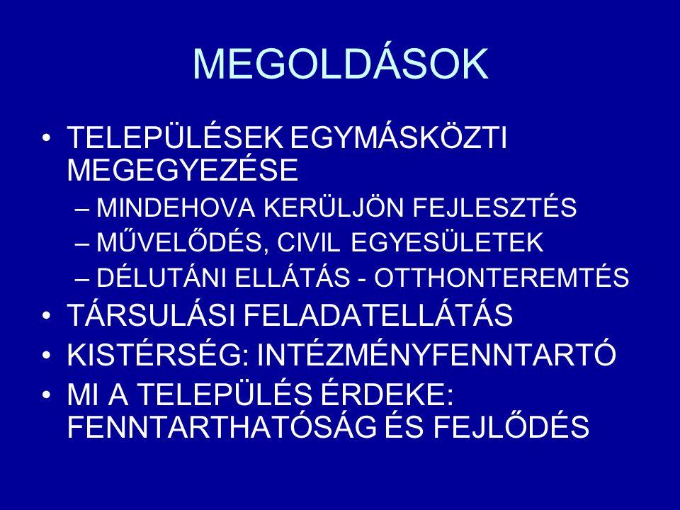 MEGOLDÁSOK TELEPÜLÉSEK EGYMÁSKÖZTI MEGEGYEZÉSE