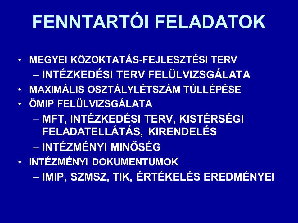 FENNTARTÓI FELADATOK INTÉZKEDÉSI TERV FELÜLVIZSGÁLATA