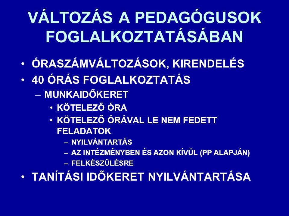 VÁLTOZÁS A PEDAGÓGUSOK FOGLALKOZTATÁSÁBAN
