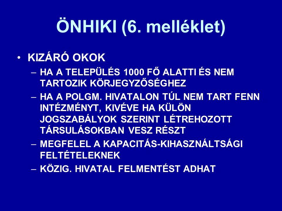 ÖNHIKI (6. melléklet) KIZÁRÓ OKOK