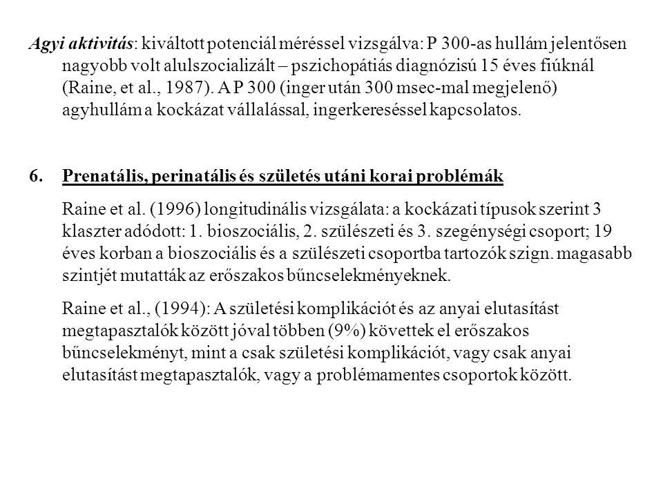 Agyi aktivitás: kiváltott potenciál méréssel vizsgálva: P 300-as hullám jelentősen nagyobb volt alulszocializált – pszichopátiás diagnózisú 15 éves fiúknál (Raine, et al., 1987). A P 300 (inger után 300 msec-mal megjelenő) agyhullám a kockázat vállalással, ingerkereséssel kapcsolatos.
