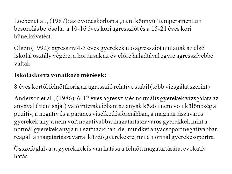 """Loeber et al., (1987): az óvodáskorban a """"nem könnyű temperamentum besorolás bejósolta a 10-16 éves kori agressziót és a 15-21 éves kori bűnelkövetést."""
