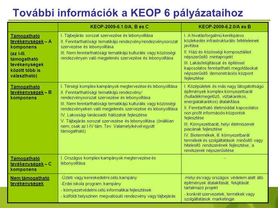 További információk a KEOP 6 pályázataihoz