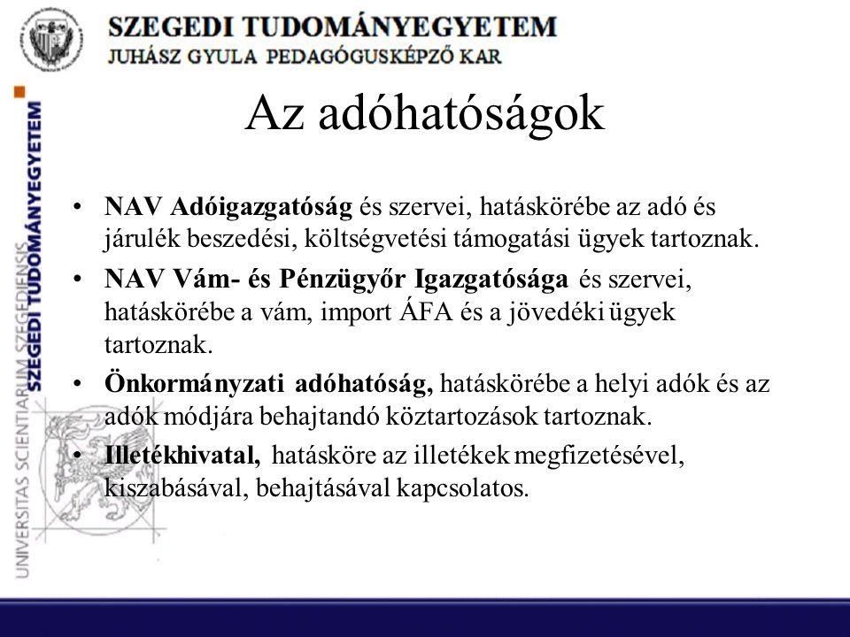 Az adóhatóságok NAV Adóigazgatóság és szervei, hatáskörébe az adó és járulék beszedési, költségvetési támogatási ügyek tartoznak.