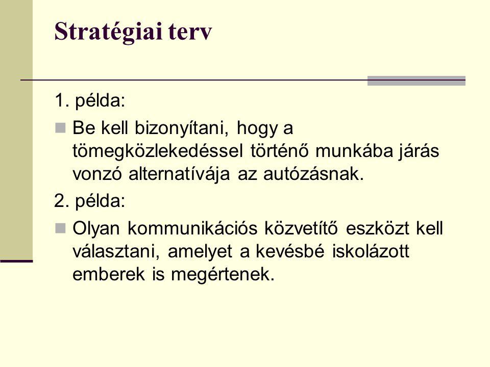 Stratégiai terv 1. példa: