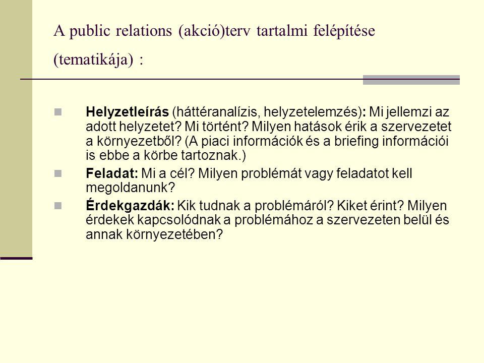 A public relations (akció)terv tartalmi felépítése (tematikája) :