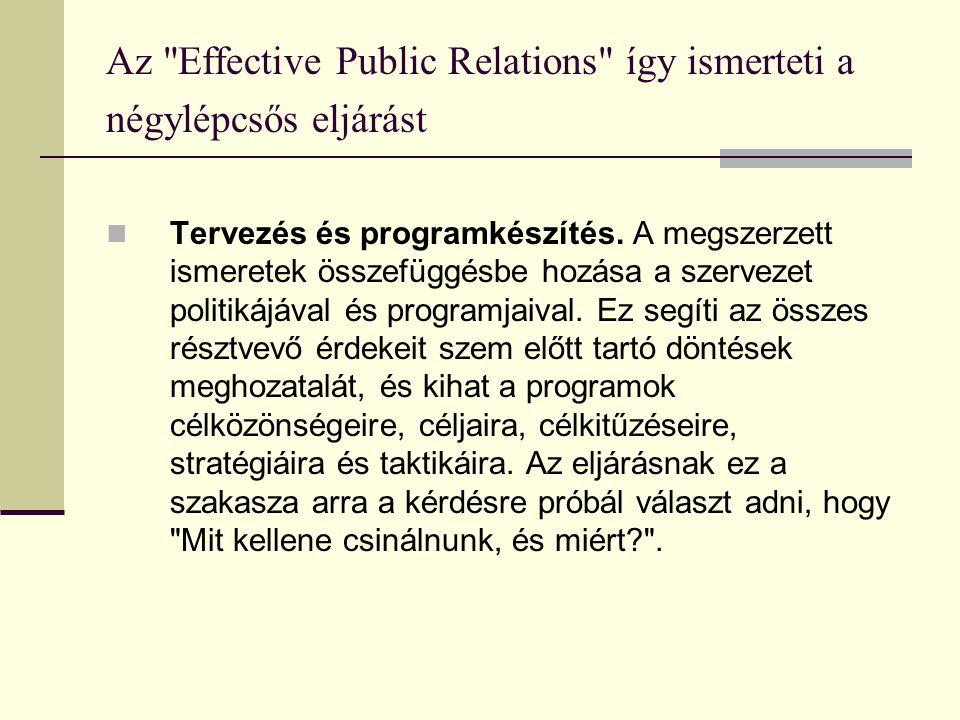 Az Effective Public Relations így ismerteti a négylépcsős eljárást