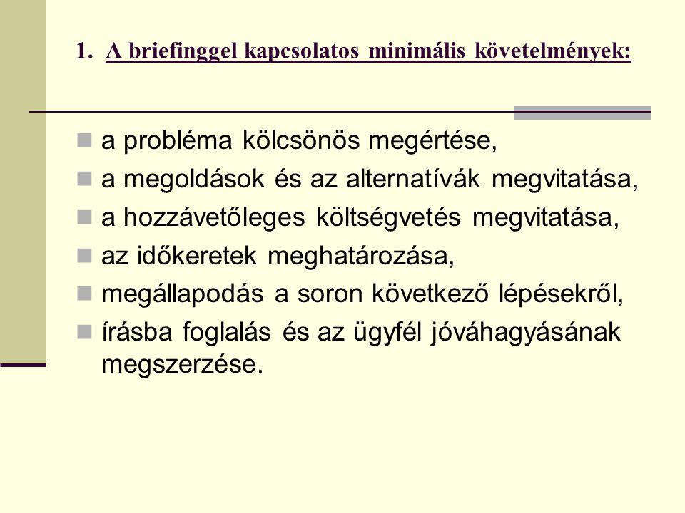 1. A briefinggel kapcsolatos minimális követelmények: