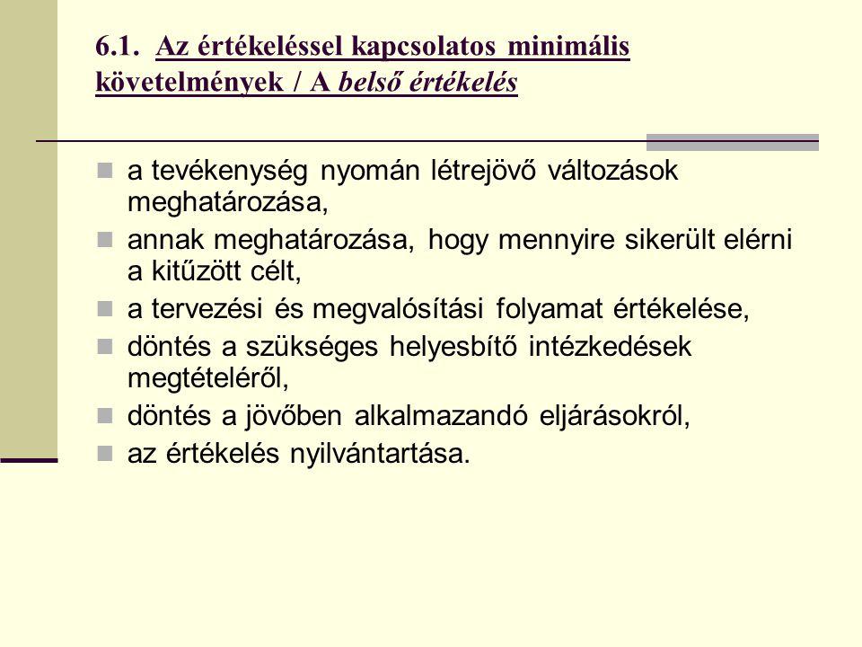 6.1. Az értékeléssel kapcsolatos minimális követelmények / A belső értékelés