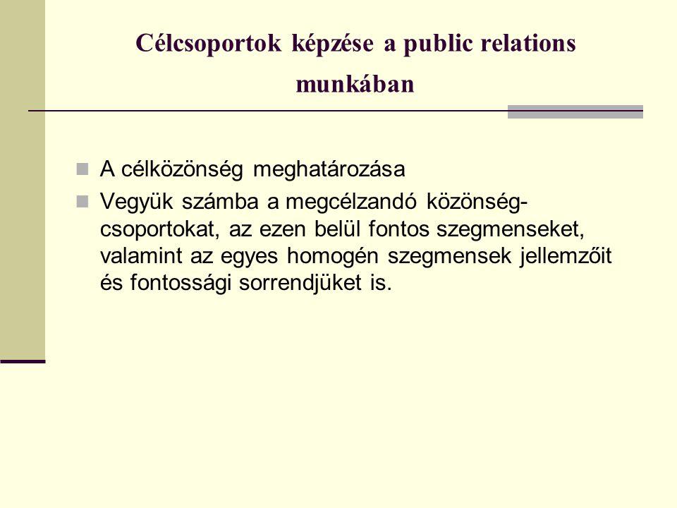 Célcsoportok képzése a public relations munkában