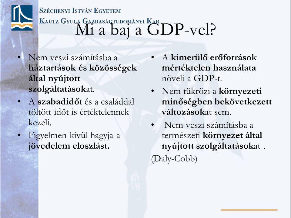 Mi a baj a GDP-vel Nem veszi számításba a háztartások és közösségek által nyújtott szolgáltatásokat.
