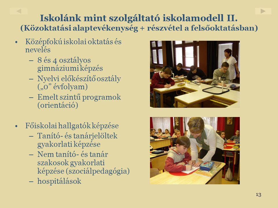 Iskolánk mint szolgáltató iskolamodell II