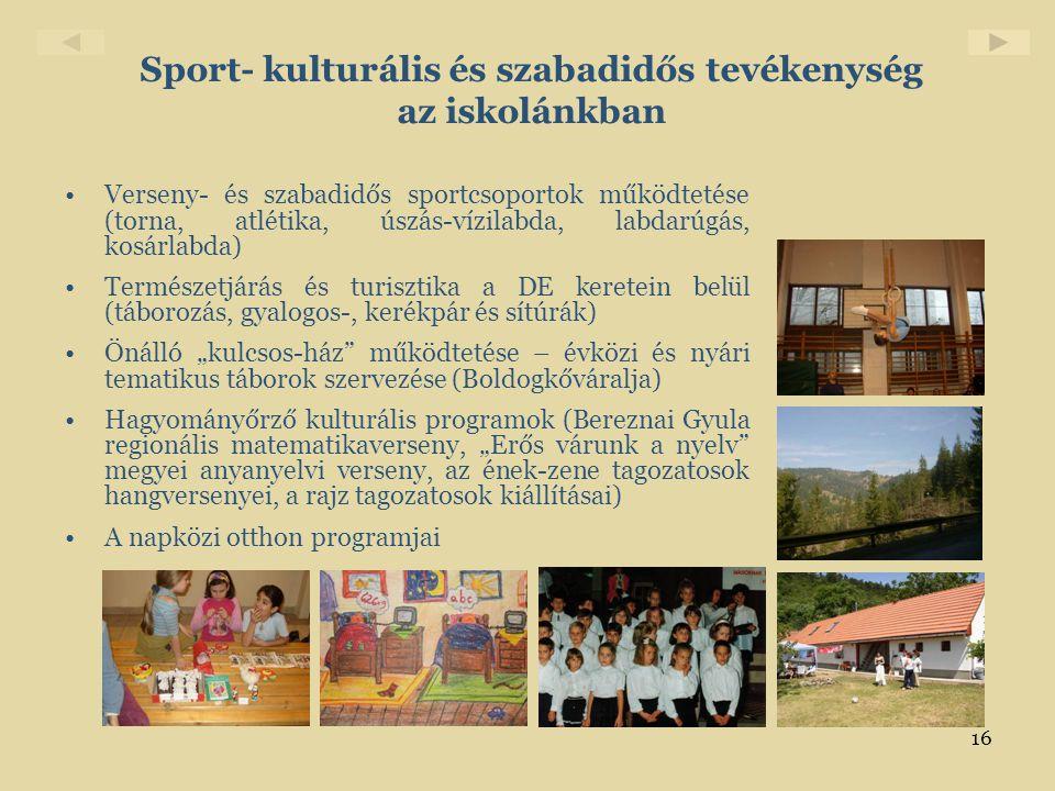Sport- kulturális és szabadidős tevékenység az iskolánkban