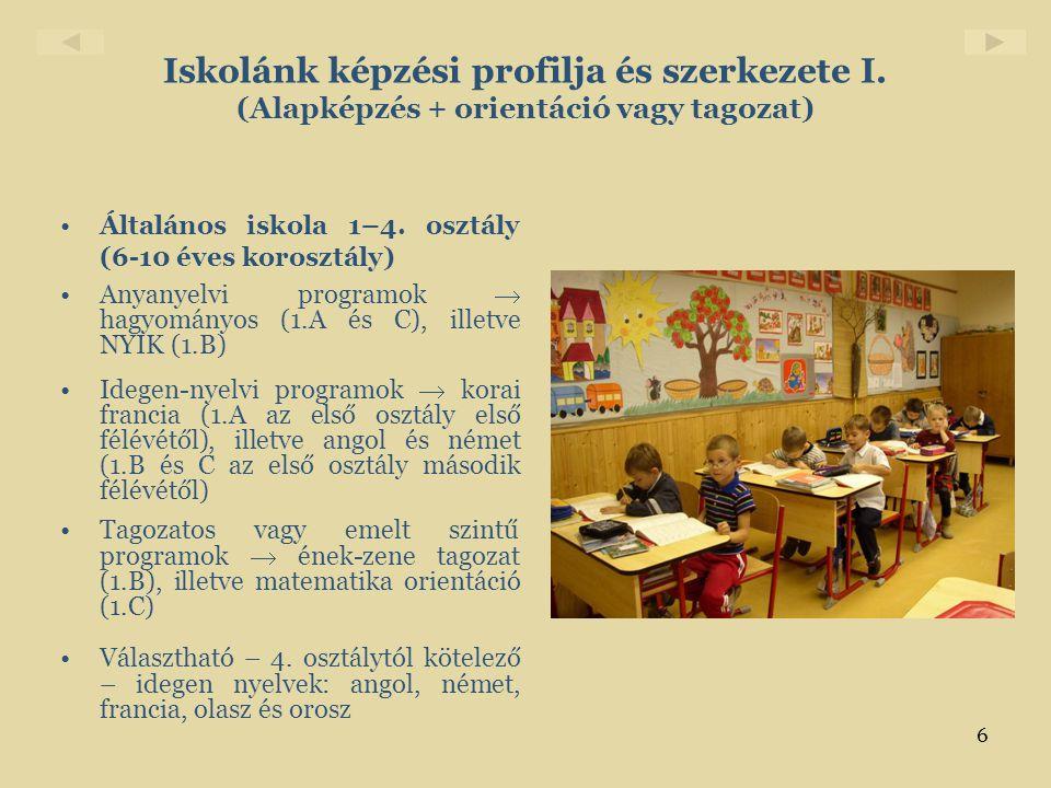 Iskolánk képzési profilja és szerkezete I