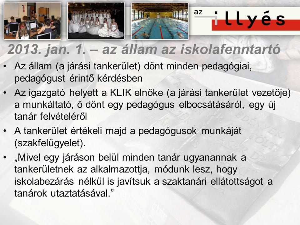 2013. jan. 1. – az állam az iskolafenntartó