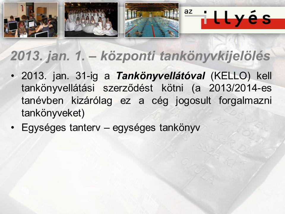 2013. jan. 1. – központi tankönyvkijelölés