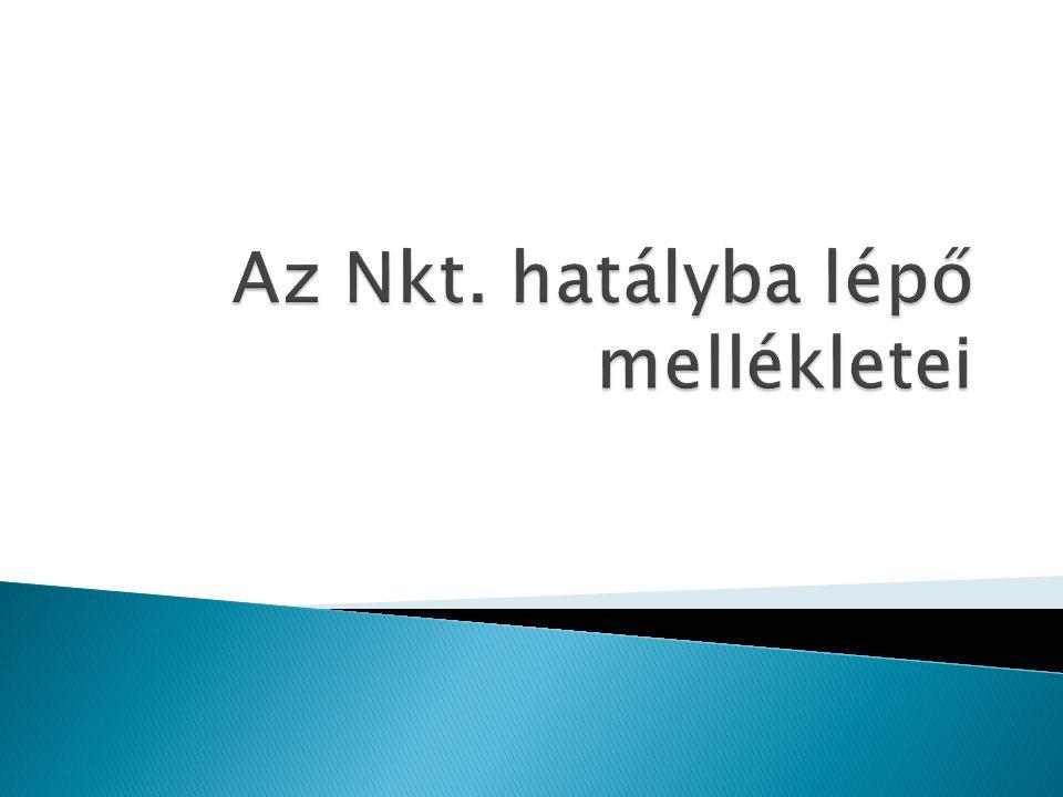 Az Nkt. hatályba lépő mellékletei