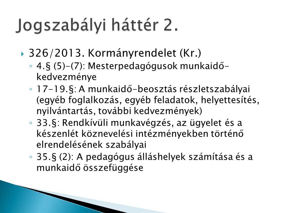 Jogszabályi háttér 2. 326/2013. Kormányrendelet (Kr.)