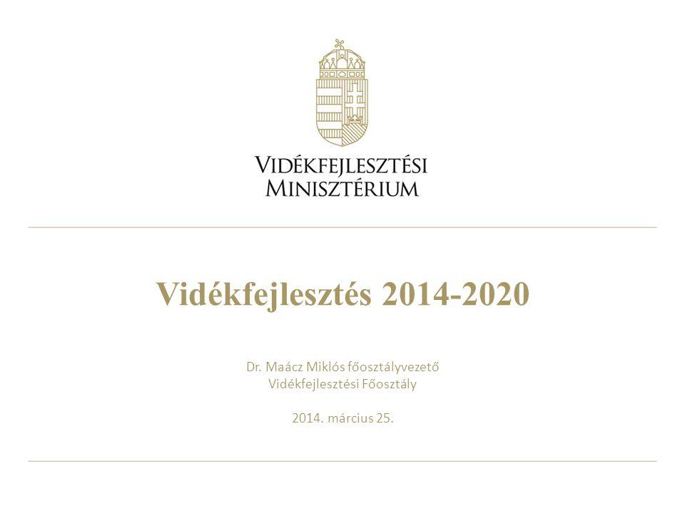 Vidékfejlesztés 2014-2020 Dr. Maácz Miklós főosztályvezető