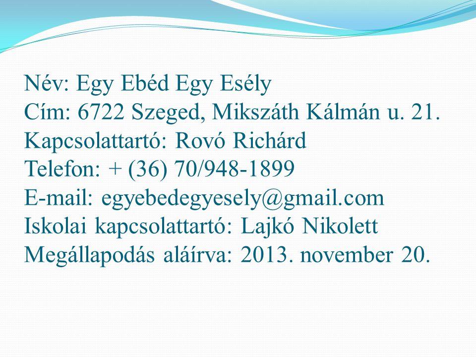 Név: Egy Ebéd Egy Esély Cím: 6722 Szeged, Mikszáth Kálmán u. 21