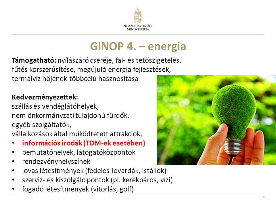 GINOP 4. – energia Támogatható: nyílászáró cseréje, fal- és tetőszigetelés, fűtés korszerűsítése, megújuló energia fejlesztések,