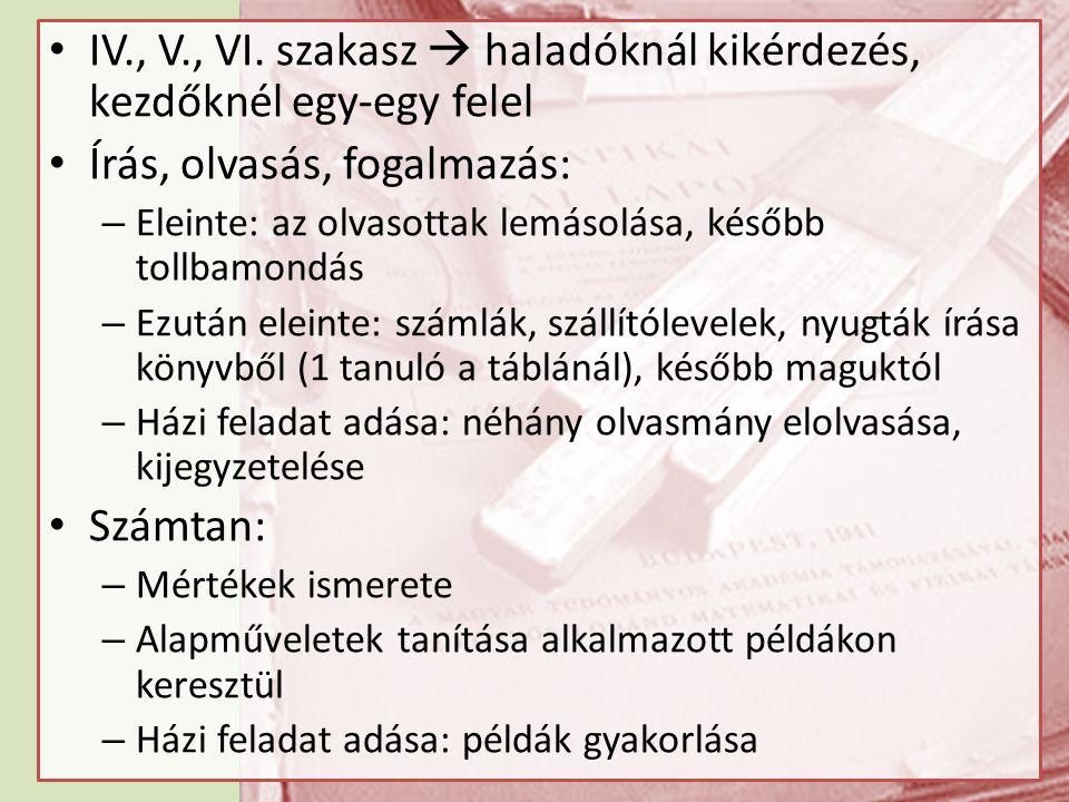 IV., V., VI. szakasz  haladóknál kikérdezés, kezdőknél egy-egy felel