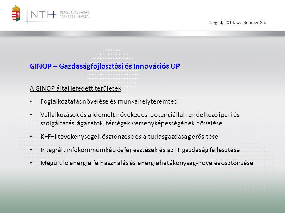 GINOP – Gazdaságfejlesztési és Innovációs OP