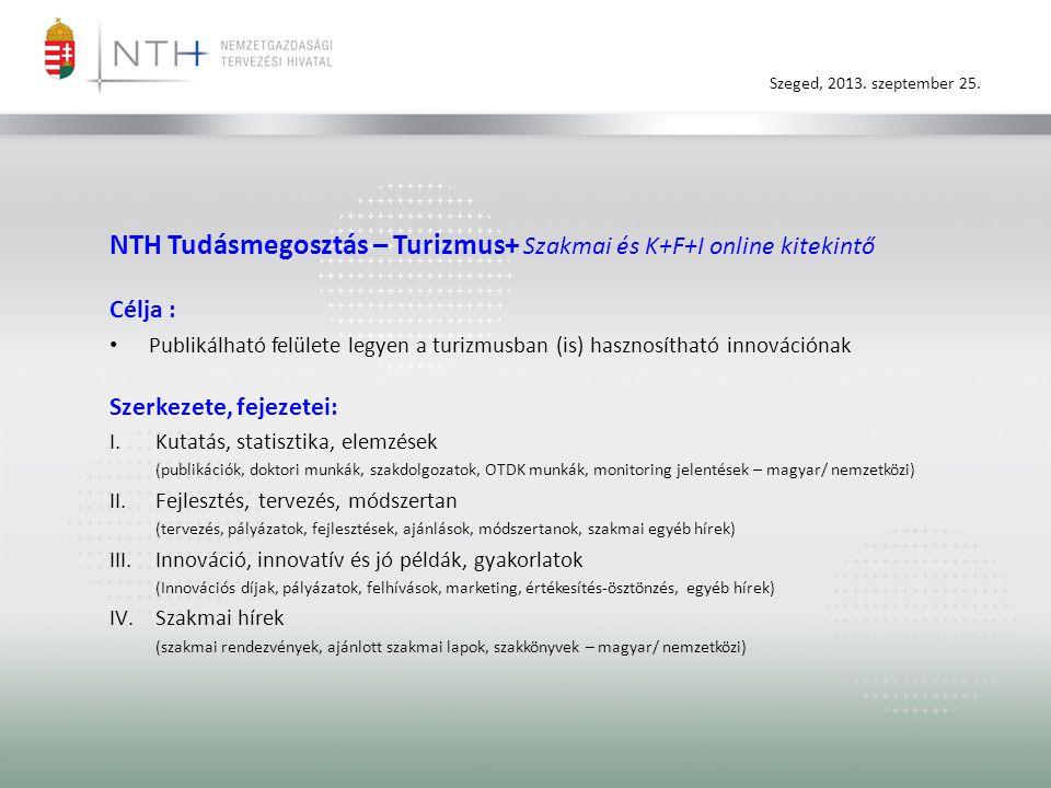 NTH Tudásmegosztás – Turizmus+ Szakmai és K+F+I online kitekintő