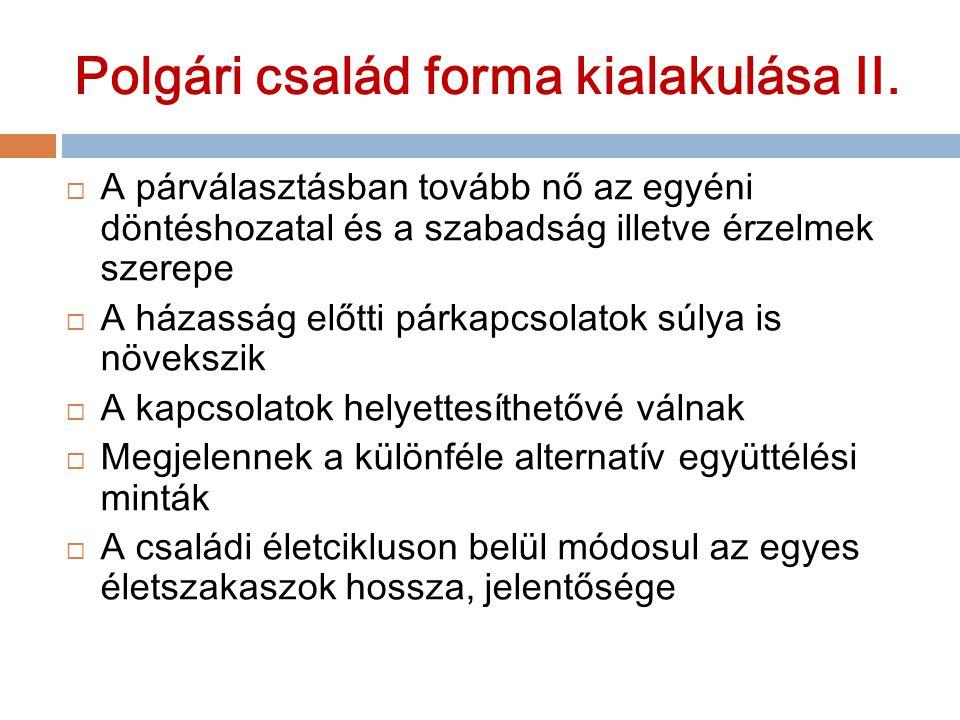 Polgári család forma kialakulása II.