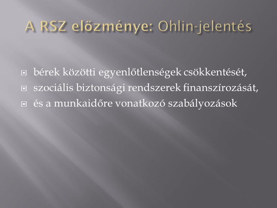 A RSZ előzménye: Ohlin-jelentés