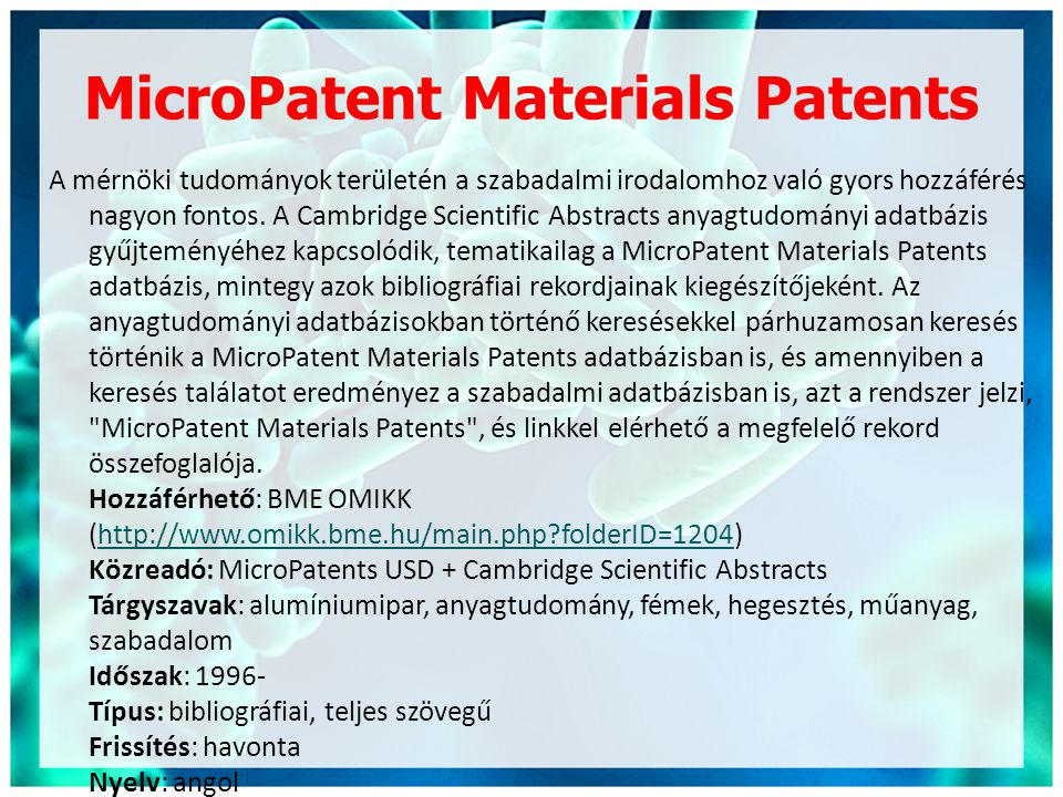 MicroPatent Materials Patents