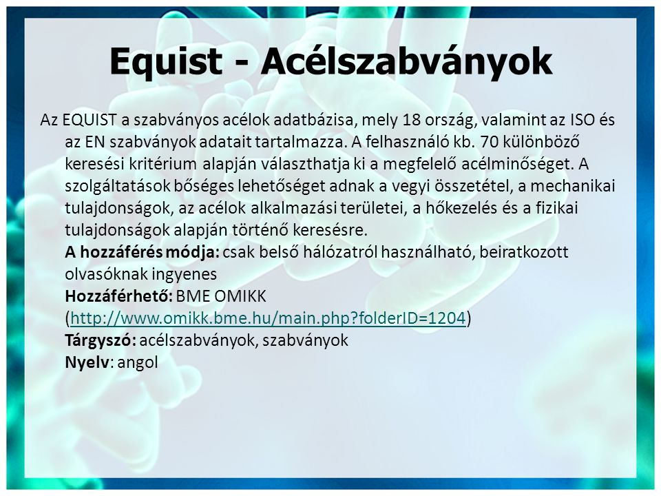 Equist - Acélszabványok
