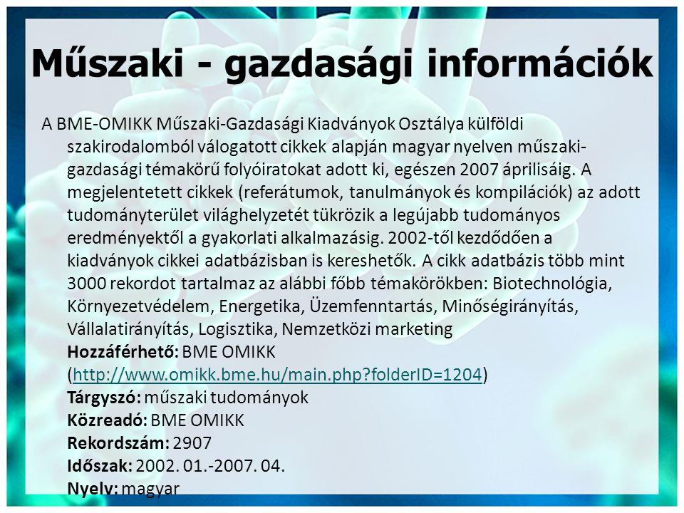 Műszaki - gazdasági információk