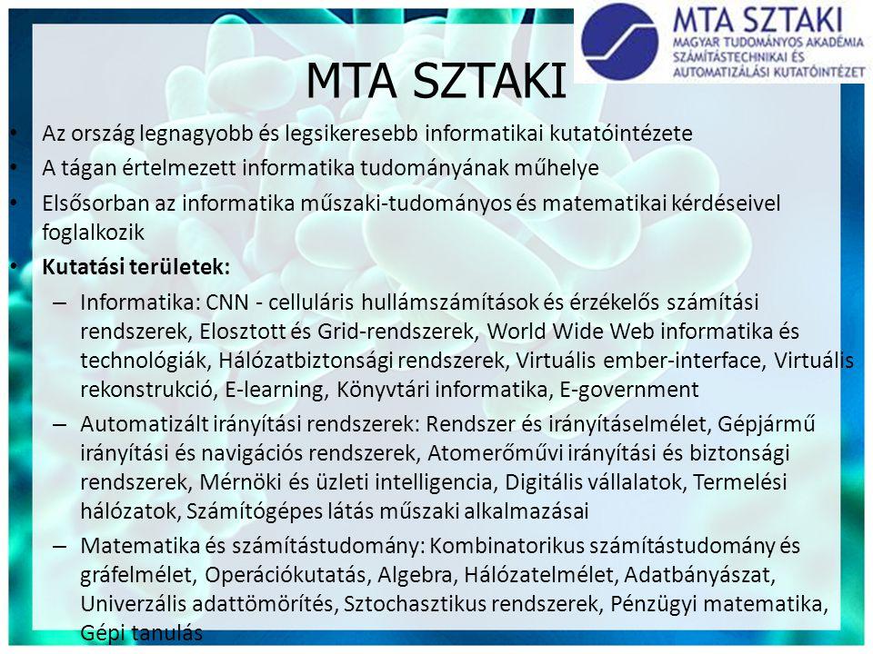 MTA SZTAKI Az ország legnagyobb és legsikeresebb informatikai kutatóintézete. A tágan értelmezett informatika tudományának műhelye.
