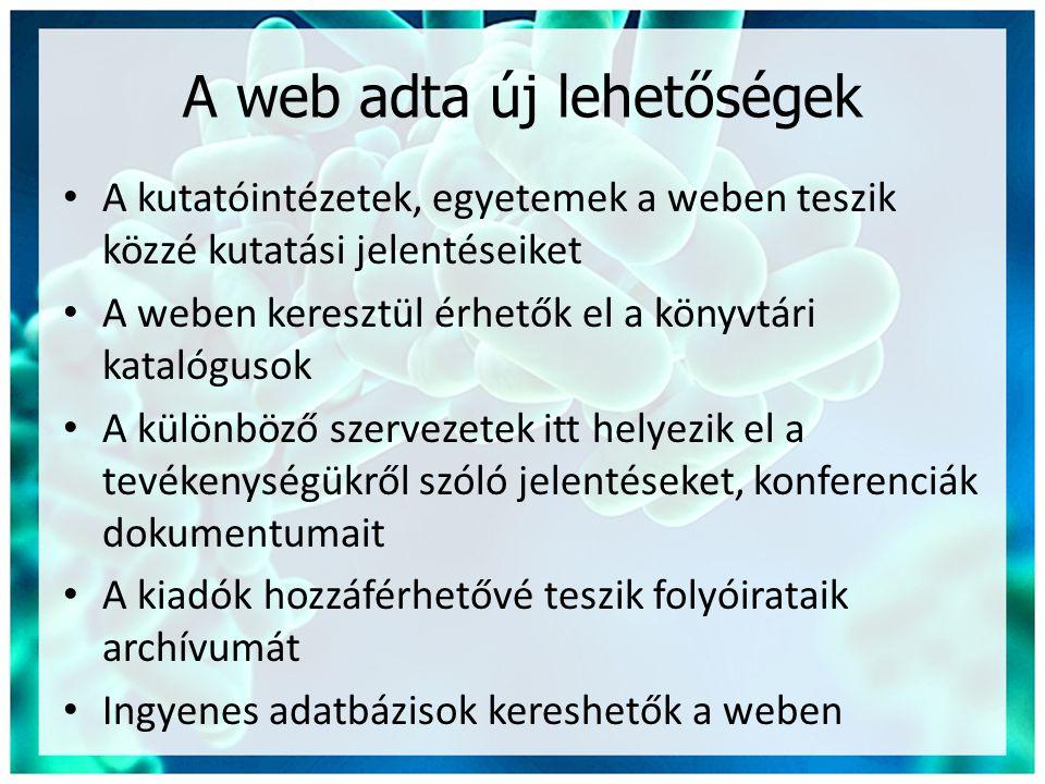 A web adta új lehetőségek
