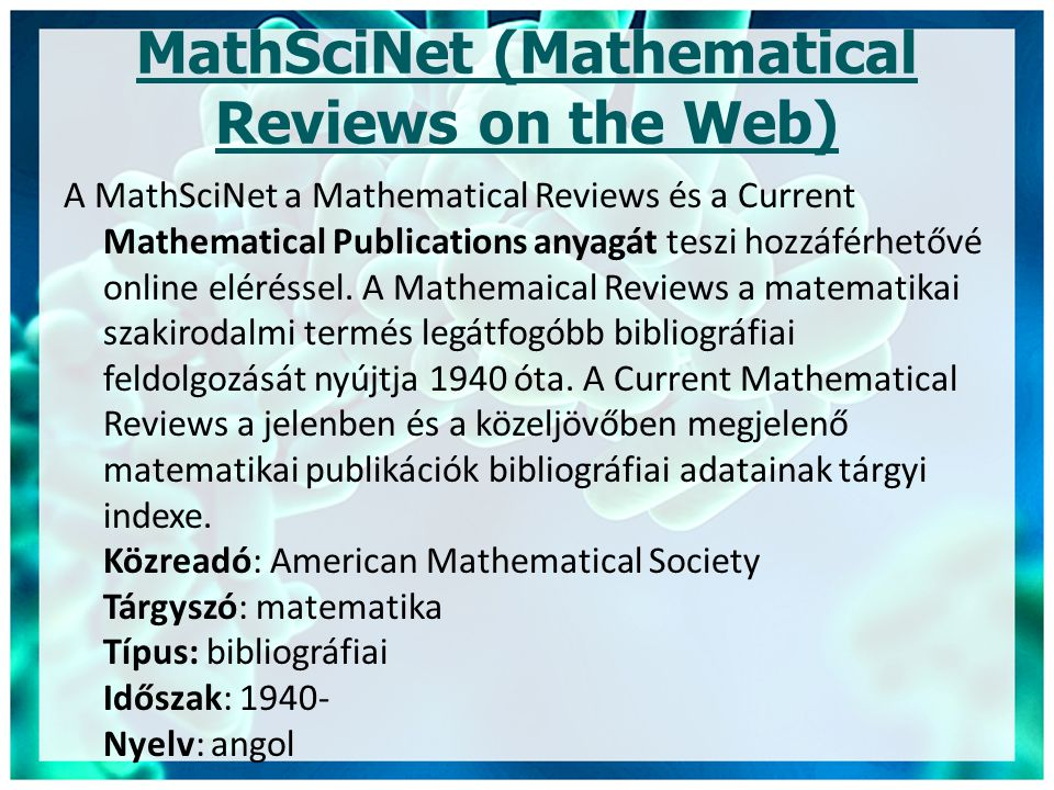 MathSciNet (Mathematical Reviews on the Web)