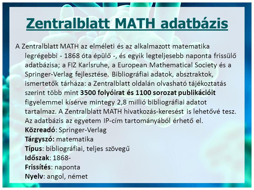 Zentralblatt MATH adatbázis