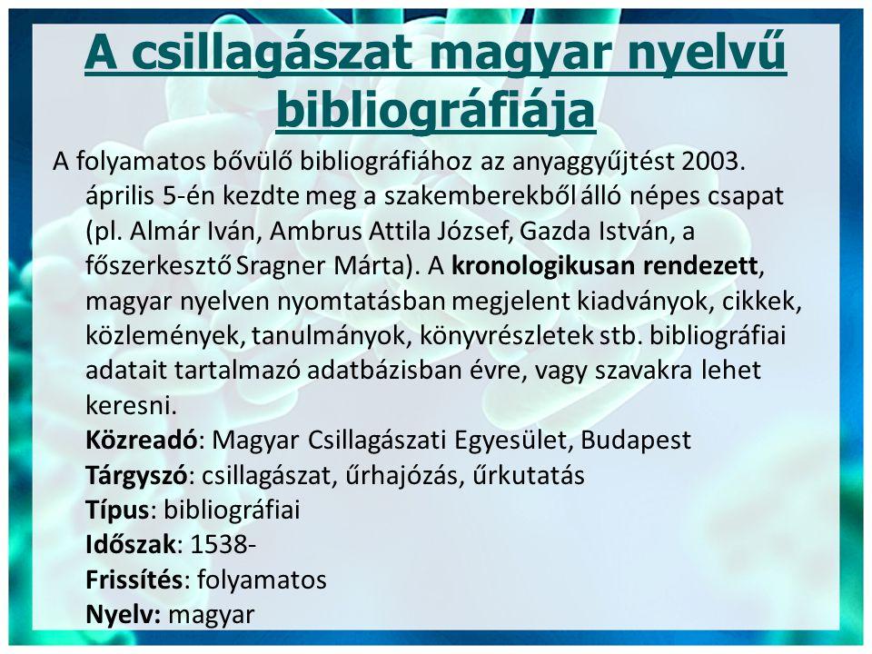 A csillagászat magyar nyelvű bibliográfiája