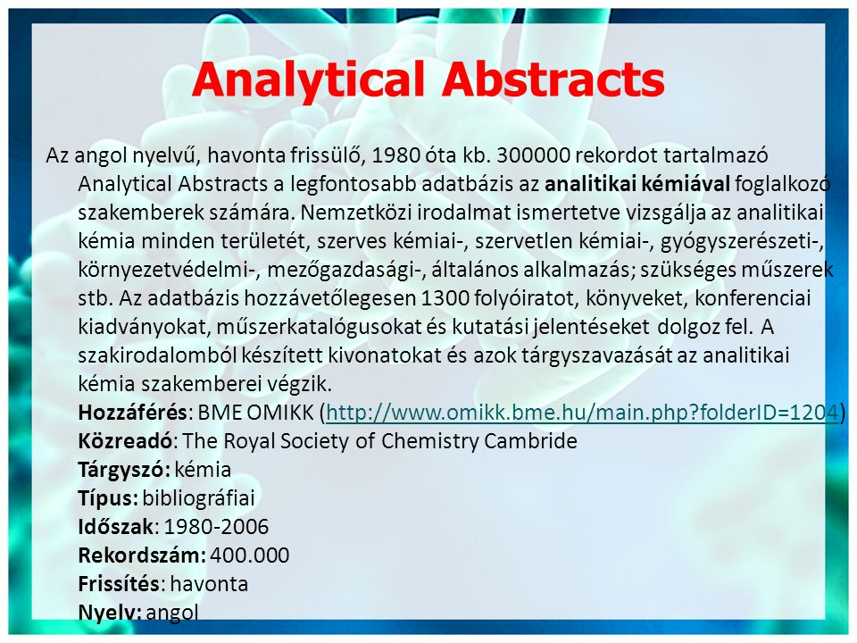 Analytical Abstracts