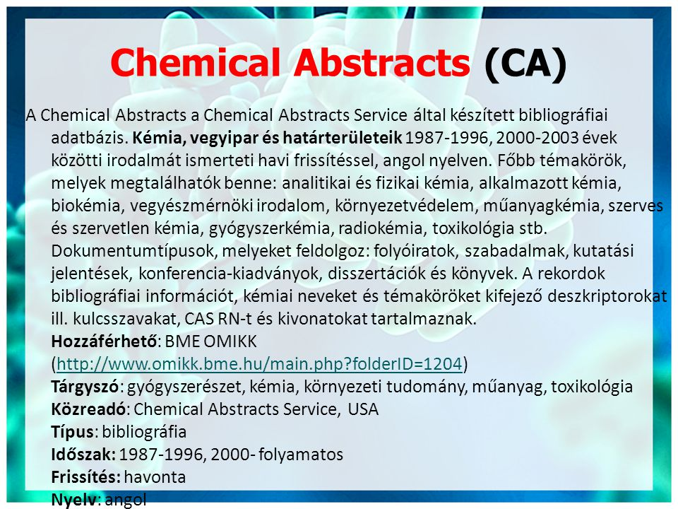 Chemical Abstracts (CA)