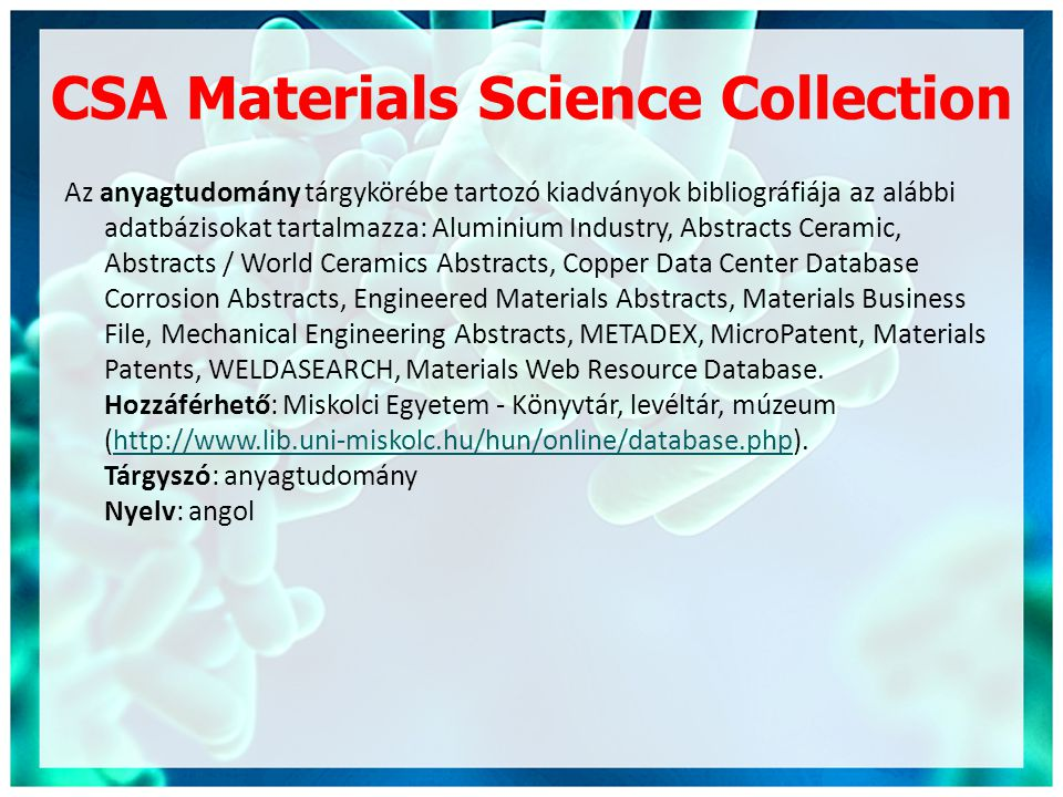 CSA Materials Science Collection