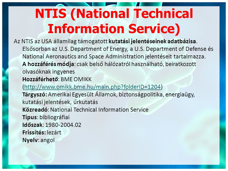 NTIS (National Technical Information Service)