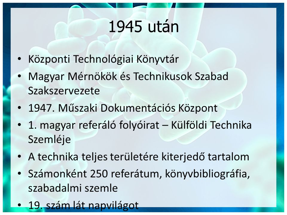 1945 után Központi Technológiai Könyvtár