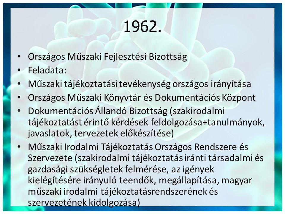1962. Országos Műszaki Fejlesztési Bizottság Feladata: