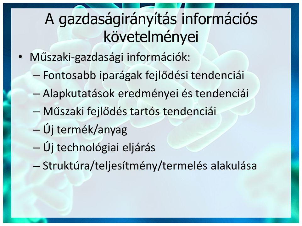 A gazdaságirányítás információs követelményei