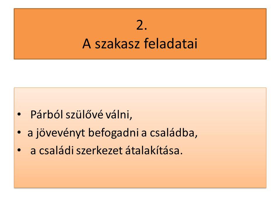 2. A szakasz feladatai Párból szülővé válni,