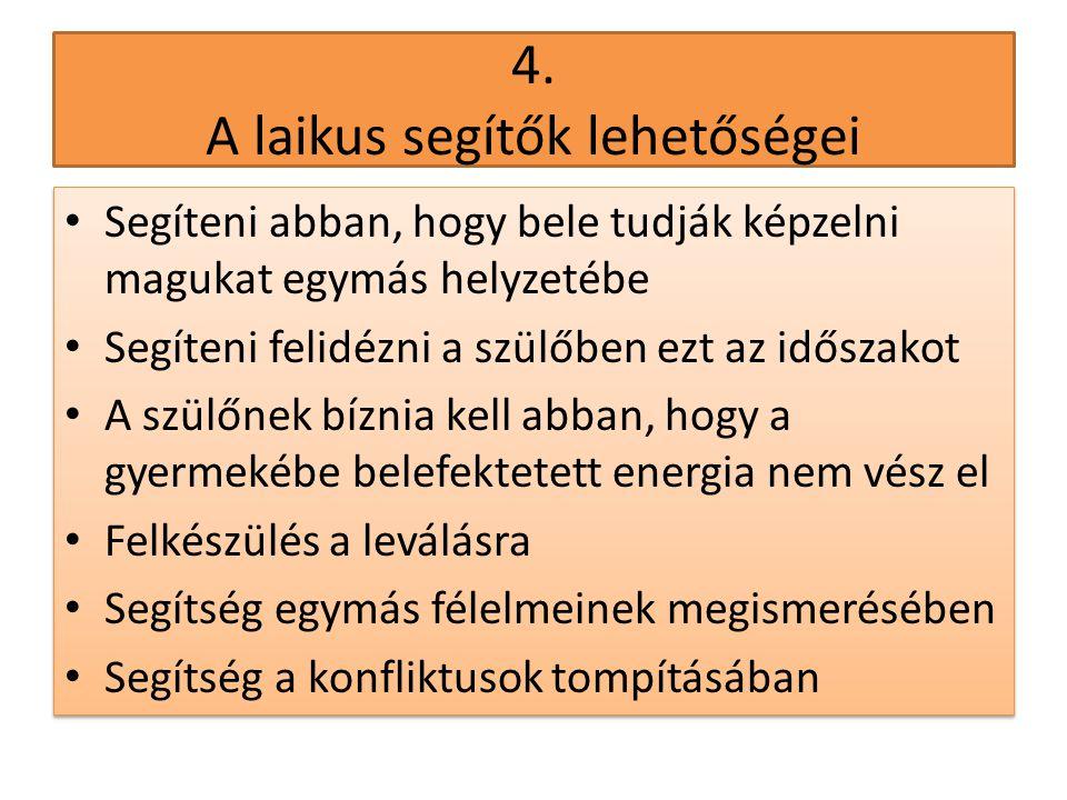4. A laikus segítők lehetőségei