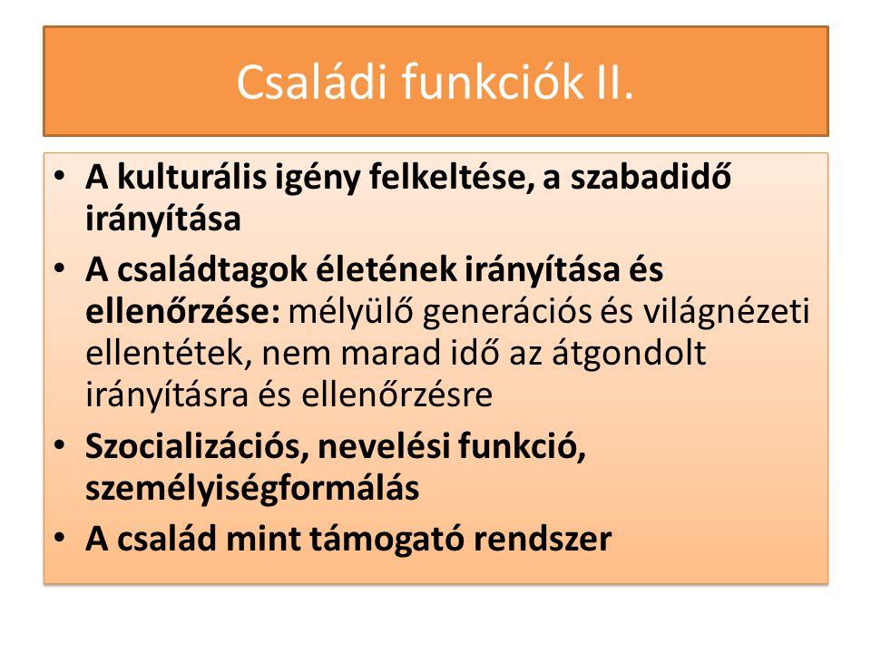 Családi funkciók II. A kulturális igény felkeltése, a szabadidő irányítása.